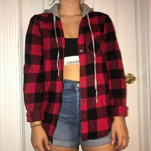 Plaid red and black jacket shirt